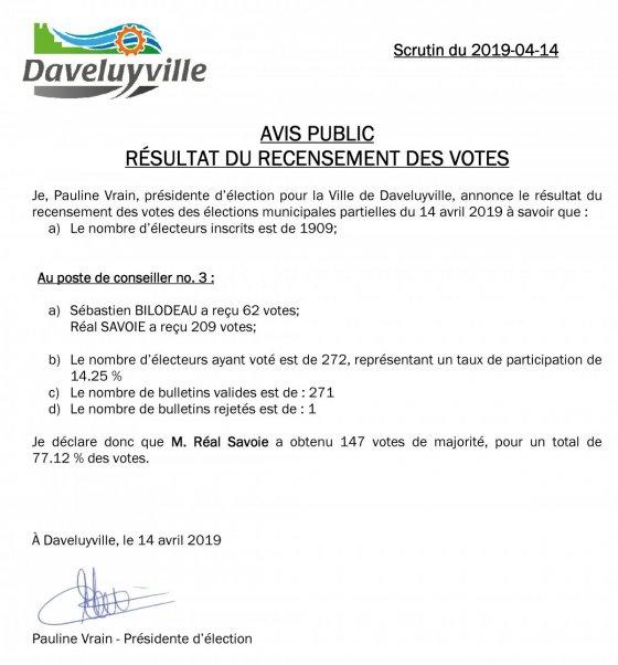 Résultat du recensement des votes (20196-04-14)