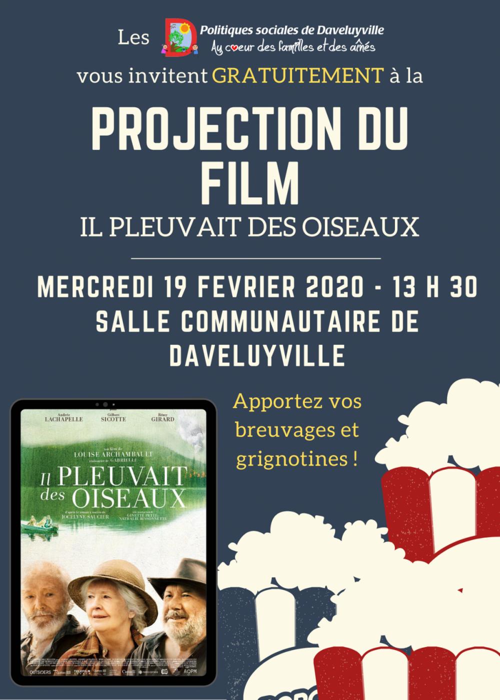 """Projection gratuite du film """"Il pleuvait des oiseaux"""""""