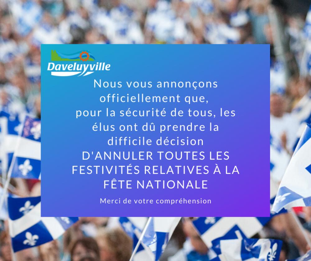 Annulation des festivités de la Fête nationale