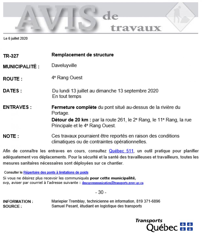 AVIS DE TRAVAUX DU MINISTÈRE DES TRANSPORTS