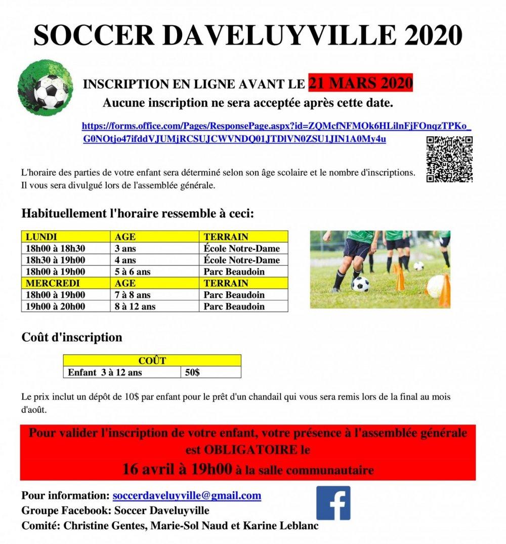 C'est le temps de s'inscrire au soccer de Daveluyville