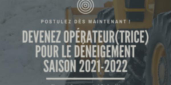 Offre d'emploi - Opérateur(trice) pour le déneigement - Saison 2021-2022